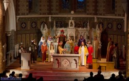 The altar space is taken over by the colourful cast at the Church of Saints Stephen & John for the Good Friday Dramatisation of the Passion and Death of Christ by the Tralee based St. John's Parish Actors and Choir. ©Photograph: John Reidy 3-4-2015