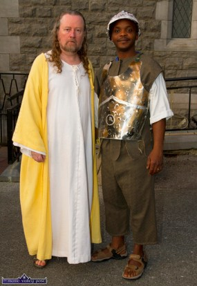 Noel King in the role of Jesus Christ and Mike Okunbar as a soldier at the at the Church of Saints Stephen & John before the Good Friday Dramatisation of the Passion and Death of Christ by the Tralee based St. John's Parish Actors and Choir. ©Photograph: John Reidy 3-4-2015