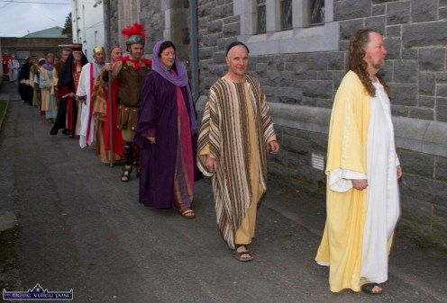 Noel King as Jesus Christ leading this section of the pre-event parade at the at the Church of Saints Stephen & John for the Good Friday Dramatisation of the Passion and Death of Christ by the Tralee based St. John's Parish Actors and Choir. ©Photograph: John Reidy 3-4-2015