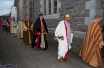 Brendan Leahy, Ken Quinlivan and Micheál Ó Suilleabháin heading to the Church of Saints Stephen & John for the Good Friday Dramatisation of the Passion and Death of Christ by the Tralee based St. John's Parish Actors and Choir. ©Photograph: John Reidy 3-4-2015