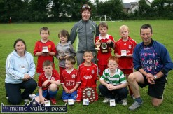 The Desmonds Avenue U-10 soccer team which emerged Garda / KDYS Soccer League Champions at Limerick Road on Friday evening. included are: Geraldine O'Sullivan, KDYS; Brian Leonard, Ben Cooney, Shane McLoughlin, Captain; Kevin Nelligan and Sgt. John O'Mahony, competition founder. Back from left: Charlie Cooney, Kevin Keane, Síle Kerley, Coach; Matthew Browne and Aaron Nolan. ©Photograph: John Reidy 29/06/2007
