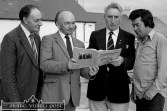 Scartaglin Féile Cheoil committee members: Cllr. Tom Fleming (left) pictured with: Seán Ó Ciardubháin, Terry 'Cuz' Teahan and Paudie Lenihan on the occasion of the local launch of Terry's book ' The Road to Glountane' in July 1983. ©Photograph: John Reidy 26-7-1983