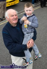 Local man, Joe Kearney pictured with his grandson, Daniel at Ahern's Open Vauxhall Club Ireland Vintage Day in Castleisland on Saturday. ©Photograph: John Reidy