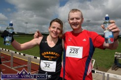 Senior women's 10 Miler winner Catriona Barry, Farranfore Maine Valley AC pictured with Seamus Murphy, Miltown after the An Riocht AC / Lee Strand Kingdom Come 10 Miler Road Race in Castleisland. ©Photograph: John Reidy