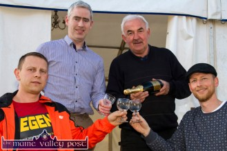A Dry Run in preparation for Saturday evening: Residents, Peter Michno (left) Anthony Donnelly, Charlie Farrelly and Bernard Harmon getting in a bit of practice at the Cahereen Heights marquee on Thursday evening. ©Photograph: John Reidy