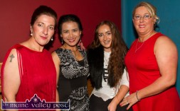 Contestants: Síle Kerley (left) and Catheriona Daly (right) pictured with dance teacher, Linda Flanagan and Lauren Hickey at the Strictly Come Dancing night at the River Island Hotel on Friday night. ©Photograph: John Reidy