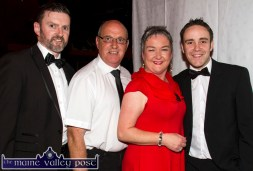 Winning dancers, Paddy White and Nora Fealey pictured with event comperes, Dan Kearney (left) and Andrew Morrissey, Radio Kerry at the Strictly Come Dancing extravaganza at the River Island Hotel on Friday night. ©Photograph: John Reidy
