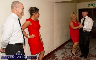 Contestants, Peter Browne and Norielle O'Leary watching rival couple, Ellen Lynch and Michael Healy Rae, TD getting in a bit of last minute practise before the Strictly Come Dancing competition at the River Island Hotel on Friday night. ©Photograph: John Reidy