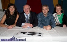 The judging panel was made up of: Mary Philpott, dance teacher; Mayor of Kerry Cllr. John Brassil; Donal Barry, Sliabh Luachra Outlook editor and 2015 Kerry Rose, Julette Culloty at the Strictly Come Dancing competition at the River Island Hotel on Friday night. ©Photograph: John Reidy