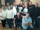 Members of the Broderick family front: Bridget, Julianne, Timmy and J.J. with Daniel, Seánie and Tony (far right) pictured with Kathleen O'Connor, The Half Barrel Bar and winners: Dale McCarthy, Milltown and Richard O'Connor, Killorglin after the inaugural Danny Broderick Doubles Darts Tournament at The Half Barrel on Sunday. Photograph Courtesy of J.J. Reidy
