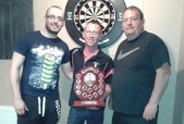 Tournament co-founder, Timmy Broderick (centre) pictured with winners: Dale McCarthy, Milltown (left) and Richard O'Connor, Killorglin after the inaugural Danny Broderick Doubles Darts Tournament at The Half Barrel on Sunday. Photograph Courtesy of J.J. Reidy