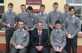 Awards for excellent attendance. Students who had full attendance records during the school year. Front from left: Sean O'Keeffe, Millstreet; Denis O'Donovan, principal and Padraig Brosnan, Cordal. Back from left: David Lynch, Castleisland; Callum McCarthy, Castleisland; Conor O'Shea, Ballymacelligott; Jeremiah O'Sullivan, Currow; Alan O'Mahony, Cordal; Con Enright, Currow and Colin McCarthy, Castleisland.