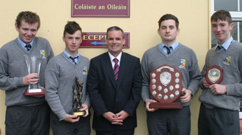 Awards winners at the class of 2015 graduation. With Principal, Denis O'Donovan are from left: Conor Browne, student of the year, Castleisland; Colin McCarthy, Castleisland, sports award; Eoin O'Callaghan, Castleisland, the Jim Lyons Award and Jeremiah O'Sullivan, Currow, academic excellence award. Photographs Courtesy of St. Patrick's.