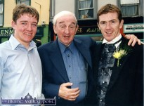 Writers' Week founder member, the late John B. Keane pictured with jockey, Barry Geraghty and his colleague, A.P. McCoy at the official opening of the Finesse Bridal Wear Boutique in The Square in Listowel. ©Photograph: John Reidy 17-4-2000