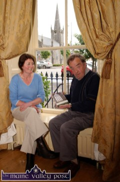 Tarbert poet, Mary Lavery-Carrig pictured with writer and Listowel Writers' Week facilitator, George Rowley in the Listowel Arms Hotel on Sunday. ©Photograph: John Reidy 24-5-2009