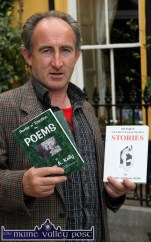North Kerry's own roving poet and writer, James Anthony Kelly selling his wares outside the Listowel Arms Hotel on Thursday afternoon. ©Photograph: John Reidy 2-6-2011
