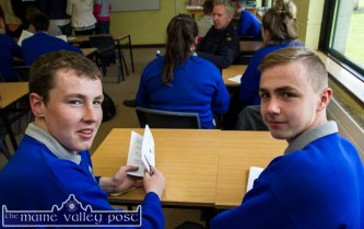 Castleisland Community College students, Freddie Browne, Knocknagoshel (left) and Ethan Brosnan, Castleisland with their just delivered copies of the Castleisland Interagency Youth Forum Booklet at the launch in the college on Tuesday morning. ©Photograph: John Reidy