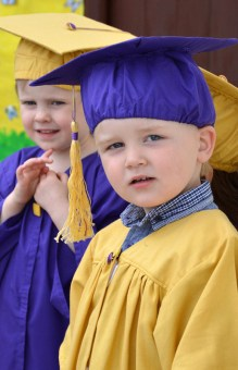 Michael O'Connell from Tullugubeen wonders Where to next? as he takes a quiet moment to reflect during Bright Beginnings graduation ceremony on Wednesday.