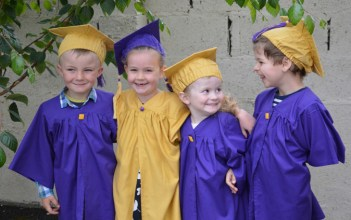 Forever Friends: Kieran Jones, Anna McCarthy, Rowena McBride and Oliver Douglas pictured at Bright Beginnings graduation on Wednesday.