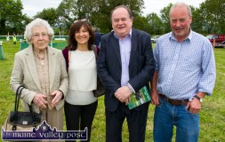 Nellie O'Sullivan, Currans and Castleisland pictured with her daughter, Catherine McCarthy with two Scartaglin men, Tom Fleming, TD and Michael O'Leary at Sunday's Castleisland Races at Powell's Road. ©Photograph: John Reidy
