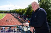 An Ríocht Athletic Club founder member, Joe Walsh catching up on the opening of the 2015 Denny Kerry Community Games Athletics Finals at An Riocht AC, Castleisland on Saturday morning. ©Photograph: John Reidy