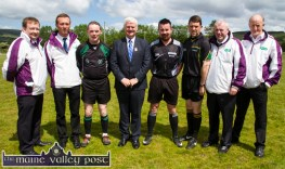 Uachtarán Chumann Luachclais Gael; Aogán Ó Fearghail pictured at the re-opening of Cordal GAA Club grounds on Sunday afternoon with the re-opening day match officials. Included are: Referee, Seamus Mulvihill, St. Senan's GAA Club; Umpires: David O'Brien, Listowel (left); Seán T. O'Connell, Rathea; Linesmen: Eddie Barrett, Knocknagoshel and Eamonn Moran, Ballydonoghue; Enda Murphy, Clounmacon and Mike McKenna, Finuge. ©Photograph: John Reidy