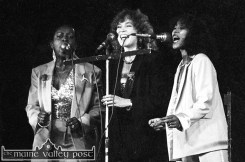 James Last Orchestra singers: Katie Kissoon, Irene Chanter and Madeline Bell on stage at Austin Stack Park during the 1983 Rose of Tralee Festival. ©Photograph: John Reidy 28-8-1983
