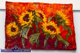 A beautiful piece of art in any medium. Sunflowers is from a member of the Bell family Felting talents and is hanging at Castleisland Library. Photograph: John Reidy © 2015