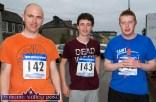 David McCarthy (left) Josh Horan and Micheál Reidy at the start of the annual Humphrey Murphy Memorial Road Race on Limerick Road, Castleisland on Friday evening. ©Photograph: John Reidy