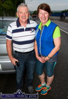 James O'Leary, Cordal (left) and Síle Kerley, Castleisland pictured at the start of the annual Humphrey Murphy Memorial Road Race on Limerick Road, Castleisland on Friday evening. ©Photograph: John Reidy