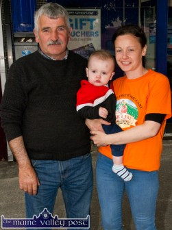 Little Jack Carmody is blissfully unaware that mom, Pam climbed the highest mountain in Ireland earlier today as they are pictured with grand-dad, John Scollard after the second annual Longest Day Cycle/Climb/Cycle Challenge in Castleisland on Saturday evening. ©Photograph: John Reidy