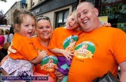 The Morans: Emily, Norma, Molly and Kevin in jubilant form after playing their parts in the second annual Longest Day Cycle/Climb/Cycle Challenge in Castleisland on Saturday evening. ©Photograph: John Reidy