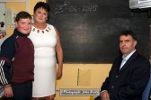 Mairéad Uí Bhrosnacháin pictured with her husband, John Brosnan and son, Paddy on their final day at Scartaglin National School on Thursday morning. ©Photograph: John Reidy