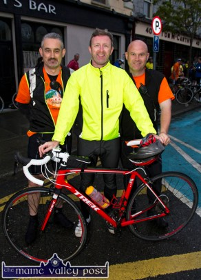 The organisers: Gerry Fagan (left) with Tom McCarthy and Denny Greaney at the start of the second annual Longest Day Cycle/Climb/Cycle Challenge in Castleisland on Saturday morning. ©Photograph: John Reidy