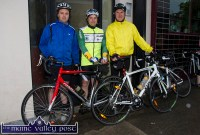John Downey, Castleisland (left) pictured with Gabriel Greely, Galway and Tom O'Sullivan, Castleisland at the start of the second annual Longest Day Cycle/Climb/Cycle Challenge in Castleisland on Saturday morning. ©Photograph: John Reidy