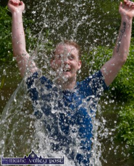 Mike Moriarty, Tralee delighted to have reached the cool, clear water stage of the testing HercOileán - The Island Warrior Challenge at An Riocht AC in Castleisland on Saturday morning. ©Photograph: John Reidy