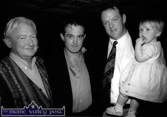 The late John Browne (left) pictured with two of his Shannon boys, Mike Cronin and Mick Galwey - with his little girl, Neasa at a Kerry County Council reception in Galwey's honour at the River Island Hotel. ©Photograph: John Reidy July 5-2000.