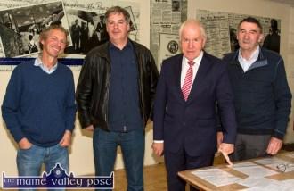 Mike Culloty, Currow (left) pictured with Dr. Paul Dillon, Dublin; Jimmy Deenihan, TD Minister for Diaspora Affairs and Johnnie Roche, project chairman at the launch of the Michael O'Donohoe Memorial Heritage Project website on Friday night. ©Photograph: John Reidy