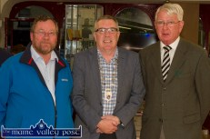 Project secretary, Colm Kirwan (left) pictured with: Cllr. Bobby O'Connell, Mayor of the Killarney Municipal Project Area and Timothy Murphy, historian at the launch of the Michael O'Donohoe Memorial Heritage Project website on Friday night..©Photograph: John Reidy