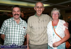 Bernard Collins, chairman North and East Kerry Development (centre) is flanked by brother and sister, Mossie O'Leary, Lyreacrompane and Kathleen O'Connor, Castleisland at the launch of the East Kerry Roots Festival at the River Island Hotel in Castleisland. ©Photograph: John Reidy 21-8-2012