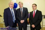 MJK & Associates founder, Michael John Kearney (centre) pictured at the launch with Jimmy Deenihan, TD Minister for the Diaspora and event compere, John Drummey at Castleisland Community Centre on Friday night. ©Photograph: John Reidy