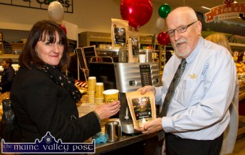 The aroma of coffee attracted Sheila Keane to the Stephen Bergin managed Waterford based Coffee House Lane stand at the annual Garvey's SuperValu Food Fair at the Castleisland outlet. ©Photograph: John Reidy