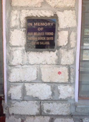 The plaque to the memory of the late Derek Davis on a wall in Kenya. The late broadcaster and journalist was an ambassador for the Ray of Sunshine Foundation up to the time of his death in May 2015.
