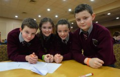 Tralee Credit Union Annual Schools Quiz 2016 took place in the Brandon Hotel Tralee over the weekend . Pictured were Knockaclarig NS Brosna pupils: Ewan Murphy , Aiobhinn Ni h0Aodha , Laura Mahony and Cian Broderick. Photo By : Domnick Walsh © Eye Focus LTD ©