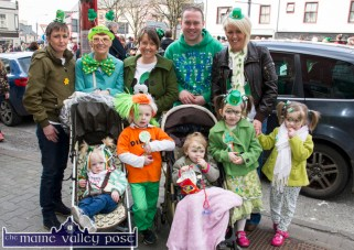 Members of the Curtin, Hayes and O'Brien families out in force and style at Thursday's St. Patrick's Day Parade in Castleisland. Included are: Lorna and Pádraig Curtin, Jessica, Aisling and Rebecca O'Brien with: Catriona, Kay and Noreen O'Brien, James Hayes and Mary O'Brien. ©Photograph: John Reidy