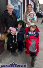 Three generations: Ann O'Connor and her daughter Mary Rooney and her three children: Hugh, Dan and Conor and their little cousin, Ruth Fleming out enjoying the parade in Castleisland on Thursday afternoon. ©Photograph: John Reidy