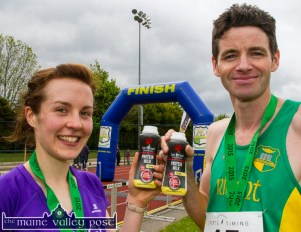 There at the finish: Kate Murphy and Tim O'Connor winners of the women's and men's 10K, sampling the about to be launched Lee Strand Protein+ Milk at the end of the 2015 An Riocht AC / Lee Strand Kingdom Come 10 Miler and 5K road race in Castleisland. ©Photograph: John Reidy