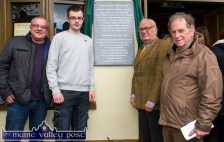 Billy Browne (centre right) after he had unveiled the plaque to the Castleisland Volunteers with: Joe and Jack Browne and Éamonn Breen during the commemoration on Sunday evening. ©Photograph: John Reidy