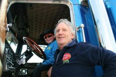 McAuliffe Trucking MD, Mike McAuliffe with his VIP co-pilot, Aaron O'Leary after they arrived in Caherdaniel on Saturday. Photograph courtesy of Build4Life.