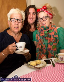 Alzheimer's Tea Day supporters, Shirley Higging with her daughters, Christine and Trish at Liz Galwey's Tea-Day 2015 on Church Street. ©Photograph: John Reidy